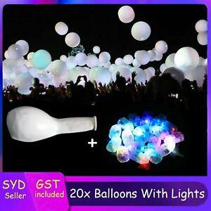 20x White Latex  Balloons+ 20X Colourful Balloon Lights Up Glow in dark Wedding