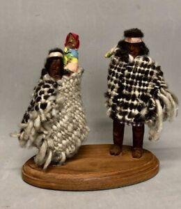 Rare Primitive Tarahumara Indian Doll Man Woman Baby Dolls Set Wool Poncho