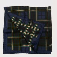 "Vintage Beckford Silk Made in England Hand Printed Blue Plaid 26"" Square Scarf"