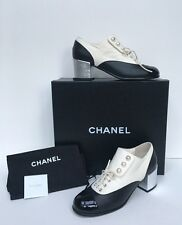 New CHANEL 16B Lace Up Pearl Oxford Heel Boot G31994 Black Silver White Sz 39