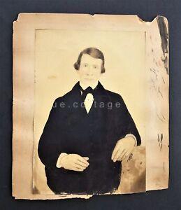 19th C antique AMERICAN FOLK ART PORTRAIT hand painted phoenixville pa photo