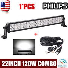"22""inch 120W S&F COMBO LED Light Bar Offroad Driving Lamp ATV Boat 24+Wiring Kit"