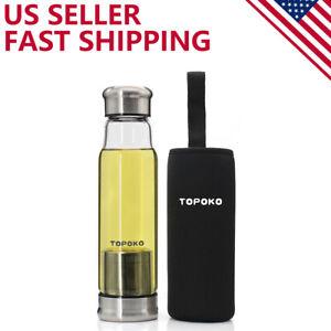 2 Pack 18.5Oz Glass Tea Infuser Travel Mug &Strainer Nylon Black Grey Sleeves