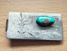 Vintage silver money bill clip large turquoise stone etched southwest mens GUC