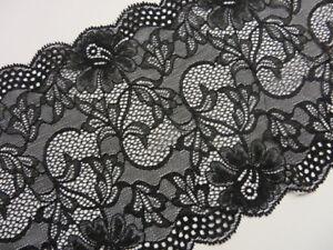 2m hochwertig schwarze elastische Spitze 17,5cm breit