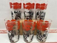 Vintage Set Of 6 Mint Red Poppy Flower Glasses Tumblers Red And Black