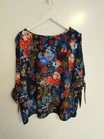MARKS AND SPENCER M&S NAVY BLUE CHIFFON FLORAL COLD SHOULDER TOP SIZE 18 BNWT