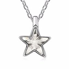 18K Gold GP Swarovski Element Crystal Star Pendant Necklace Clean White