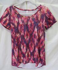 Lularoe Classic T Shirt Short Sleeve Multi Color Print Pink Blue Yello XXS #5878