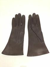 Ladies Vintage Dark Brown Leather Gloves whipstiching detail size  7 1/2-unworn