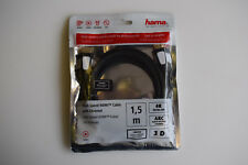 Hama High Speed HDMI Lead Male to Male 00056576 4K 3D Ethernet ARC Black 1.5m