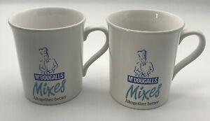 2 Pair McDougalls Coffee Mugs Flour Chef Logo Advertisement