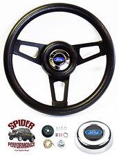 "1970-1976 Torino and Gran Torino steering wheel BLUE OVAL 13 3/4"" BLACK SPOKE"