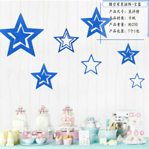 7pcs/lot Star Christmas Party Decorations Twinkle Paper Garlands Ornaments Home