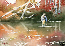 "Fly Fishing ""SECRET SPOT"" ACEO Miniature Art Print Signed by Artist DJR"