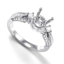 Ring Sizes 4 to 9.5 #R799 18k White Gold Diamond Engagement Ring Semi-Mount