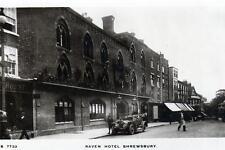 Raven Hotel Shrewsbury motor car unused RP old postcard by WHS Kingsway