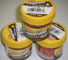 Berkley Powerbait GARLIC SCENT Power Eggs 3 pk  SE Red FEGSER *NEW* ice fishing
