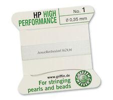 Griffin High Performance weiß Perlseide, Perlfaden; 2m 1 Nadel; versch. Stärken