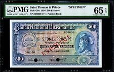 """500 Escudos 1956 Saint Thomas & Prince """"SPECIMEN"""" PMG 65 EPQ Gem Uncirculated"""