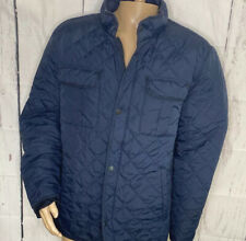 American Eagle Jacket Quilted Full Zip Snap Front Navy Blue Nylon Men Sz 2XL
