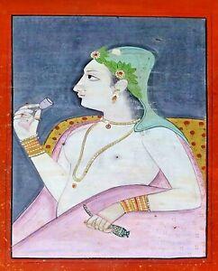 PORTRAIT OF LADY INDO MUGHOL. OIL OR GOUACHE ON CARDBOARD. INDIA. XIX CENTURY