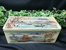 Antique W & R Jacob & Co, Liverpool, Biscuit Tin Oriental Japanese Painted Scene