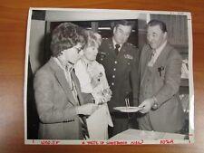 Vtg Glossy Press Photo Natick MA General Penney & Two Females Taste Food 1980s