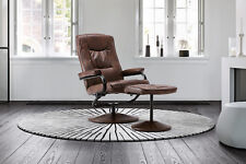 Birlea Memphis Tan Brown Faux Leather Reclining Chair & Foot Stool