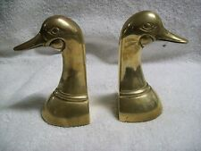 Vintage Set of 2 Brass Duck Head Bookends Mid Century Made in Korea
