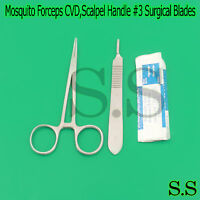 """MOSQUITO HEMOSTAT FORCEPS 5"""" CURVED +SCALPEL HANDLE #3+5 SURGICAL BLADES #11"""