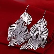 Fashion 925Sterling Solid Silver Jewelry Leaves Dangle Earrings For Women E214