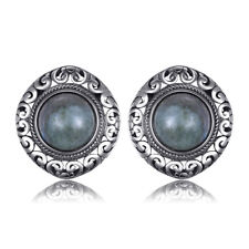 JewelryPalace Retro 2.43ct Genuine Labradorite Carved Stud Earrings 925 Silver