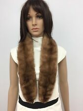 GENUINE BROWN MINK FUR COLLAR STOLE SCARF n.139