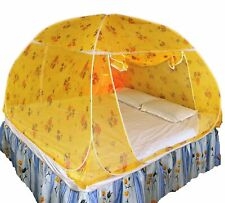 Foldable Polyester Double Bed Mosquito Net (Yellow)  free shipping UK