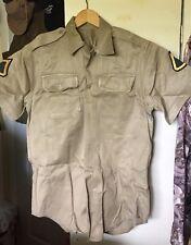 Vintage 1968's Vietnam War US. Army Khaki Tan Uniform Shirt. Size Small