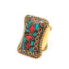 Nepali Boho Ring Size 7.5'' Lrj_0840 Santa Turquoise & Red Coral Gemstone