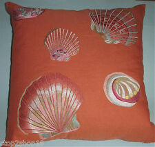 """Sferra SHELLS Embroidered Decorative Pillow COVER Paprika 21x21"""" Unfilled New"""