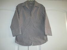 Foxcroft Wrinkle Free Size 6 fitted  brown & white check 3/4 sleeve blouse Ex.