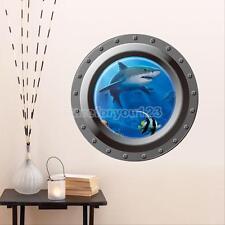 3D Ocean Shark Porthole Wall Decal Sea Cruise Wall Art Room Decor Sticker Mural