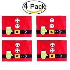 4x Santa Placemats Cutlery Holders Table Runners Red Mat Xmas Dinner Party Decor