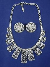 Sarah Coventry Silver Tone Statement Necklace with Unmarked Clip On Earrings