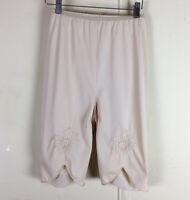 Vintage Nylon Ivory Long Leg Tap Pants Pillow Tab Flower Detail Panties Small