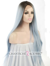 Women's Synthetic Hair Lace Front Wigs Dark Roots&Blue Straight Heat Friendly UK