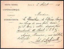 Opéra Comique. Billet autographe signé du cabinet du Directeur. 1888