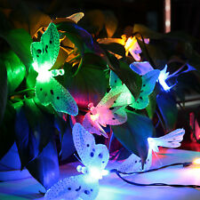 Fiber Optic Butterfly Shaped 12 LED Solar String Lights Multi-Color 2 Pack
