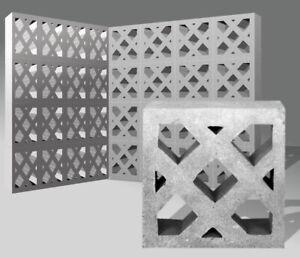 10x Formsteine Dekor Gitter - Designblock Ornamentstein Breezeblock Mauer Wand