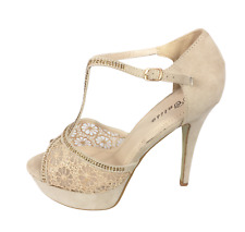 Womens Ladies Beige Faux Suede Mesh High Heel Party Sandals Shoes Size UK 7 New