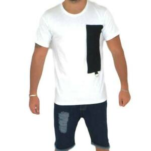 T- shirt basic uomo in cotone bianco slim fit girocollo con cucitura a coste ner