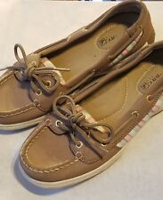 SPERRY Top Sider Womens 6M Tan Beige Multicolor Stripe Leather Boat Shoes